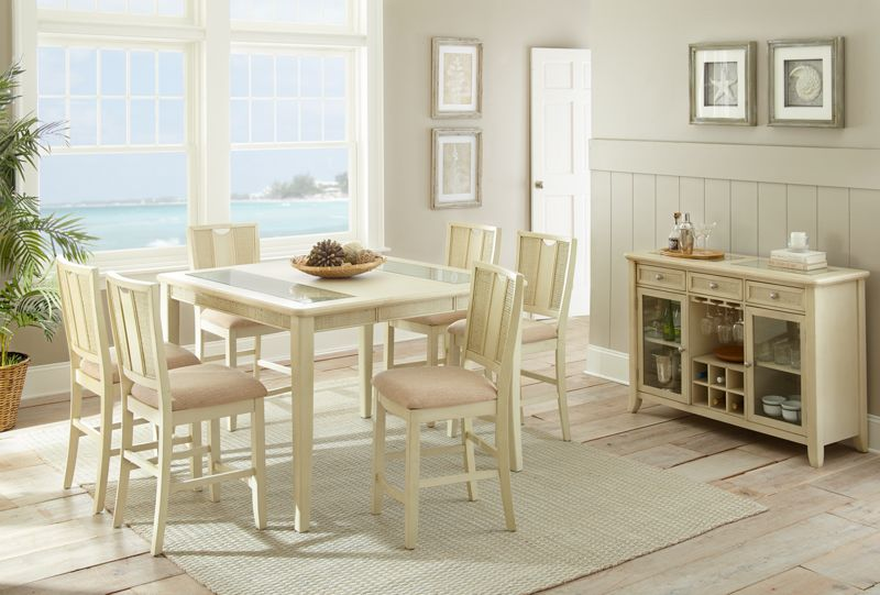 Melody Pub Table Set with Rattan Accents in White