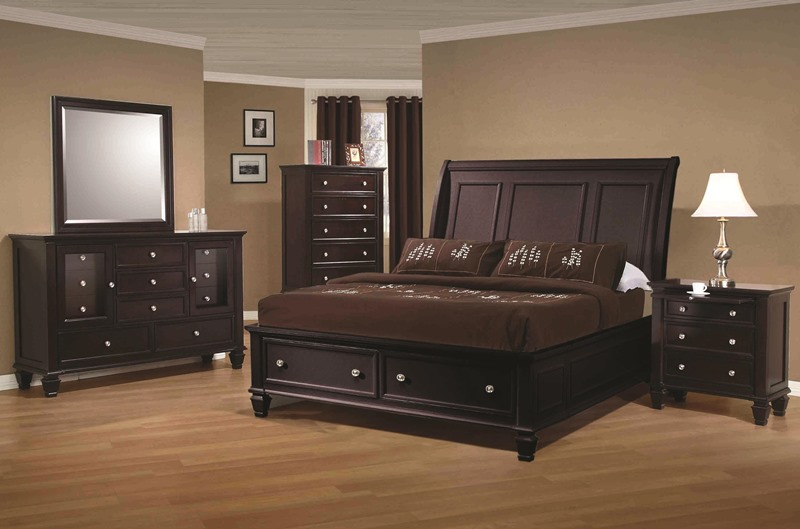Sandy Beach Bedroom Set with Storage Bed in Cappuccino