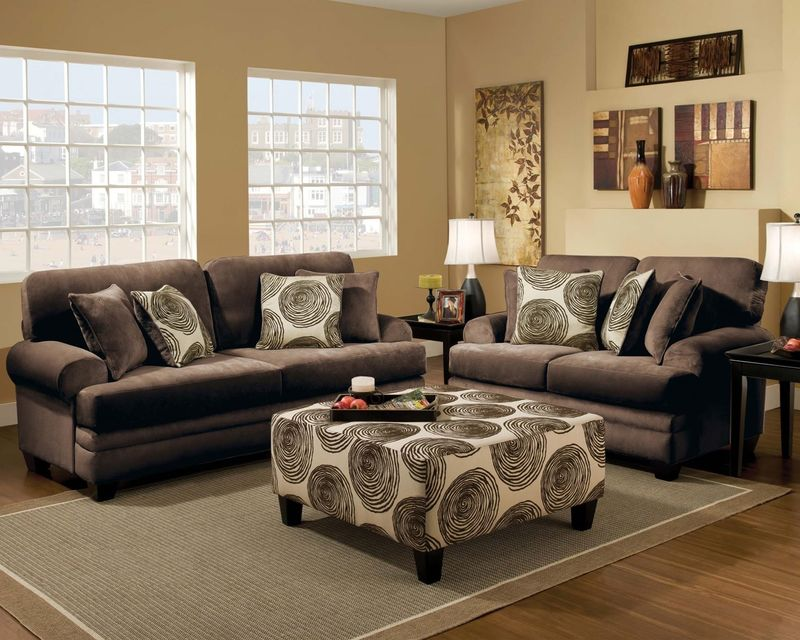 Swirl Living Room Set in Chocolate