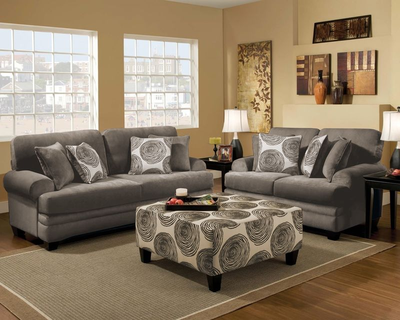 Swirl Living Room Set in Smoke
