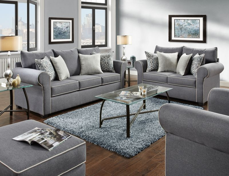 Spellbound Living Room Set in Grey