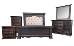 Chalet Padded Dark Rustic Bedroom Set