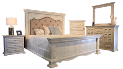 Chalet White Padded Rustic Bedroom Set