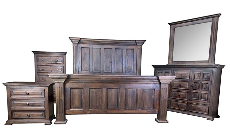 4165-4 Chalet Dark Panel Bedroom | Split Nickel | Free Delivery