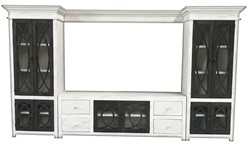 Weathere White Fish Rustic TV Stand Entertainment Wall