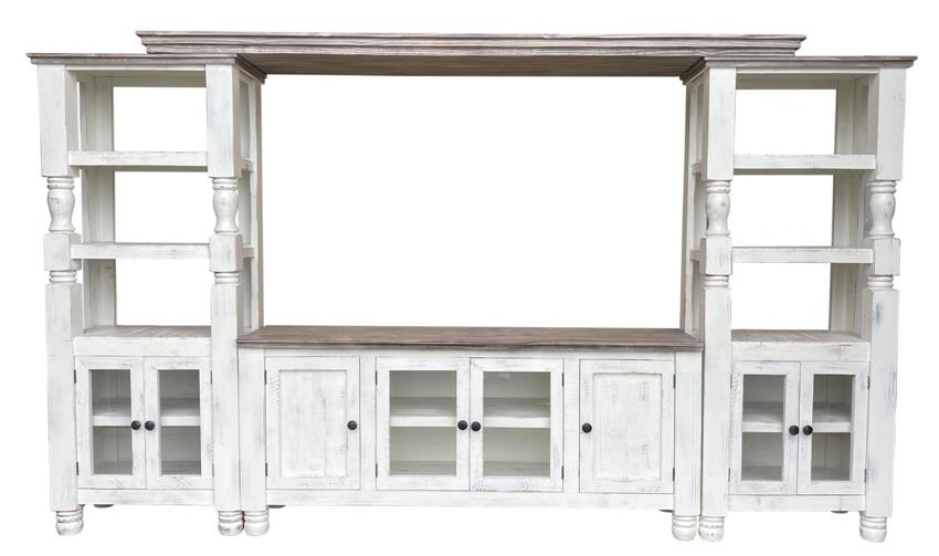 Martha Rustic White and Grey Entertainment Center