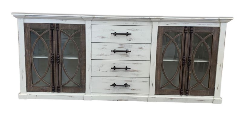 "90"" Rustic TV Stand Fish Hinge Cabinet"