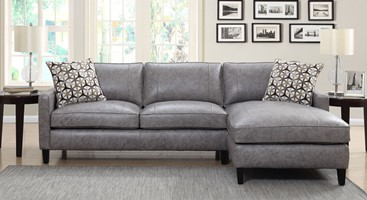 Alder Leather Sectional in Dark Grey