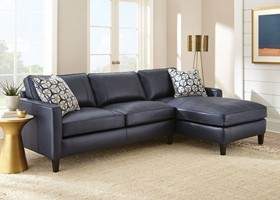 Alder Leather Sectional in Ink Blue