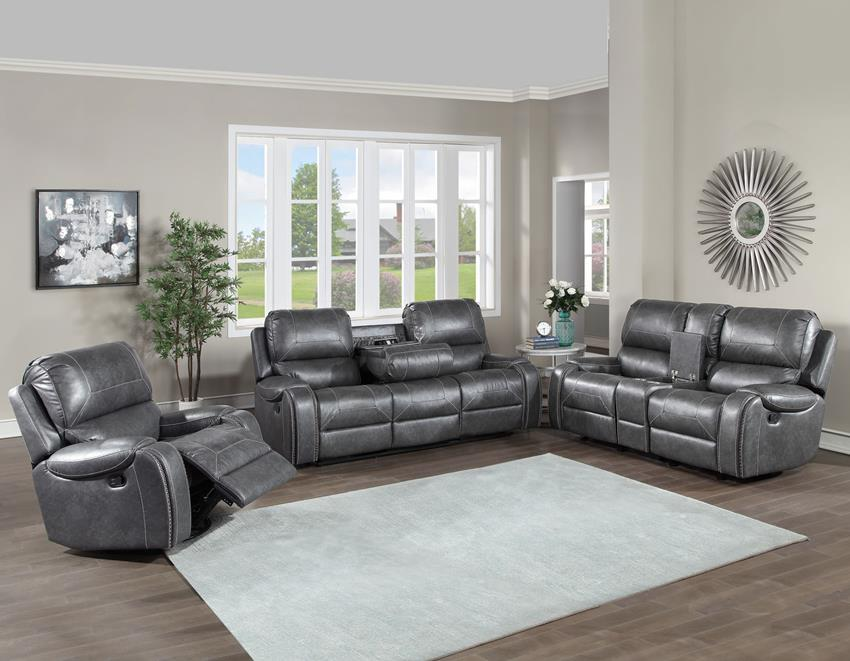 Keily Reclining Living Room Set in Marbled Grey