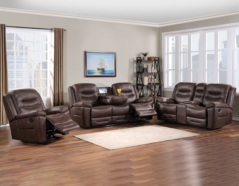 Stetson Reclining Sofa Set in Bomber Jacket