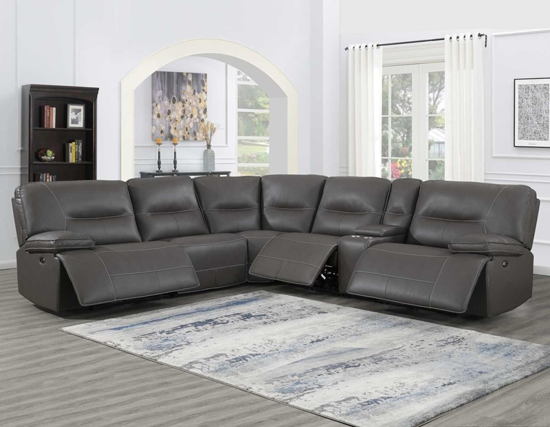 Ellery Charcoal Grey Sectional with Power Motion