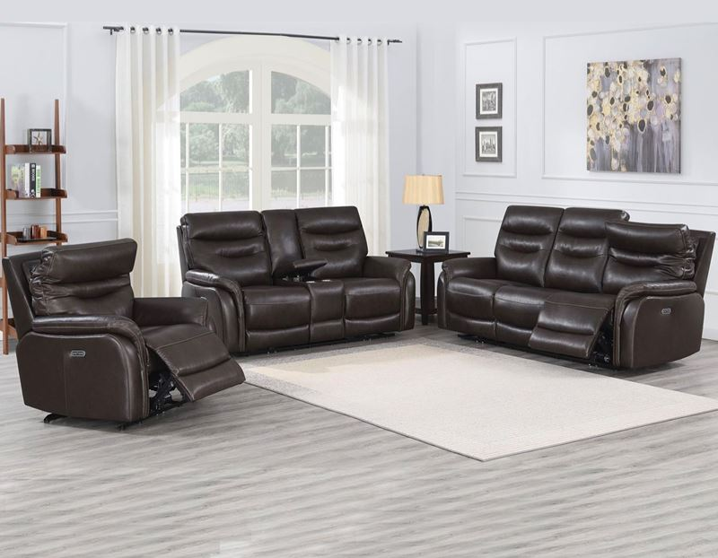 Fortuna Power Reclining Leather Sofa Set in Grey