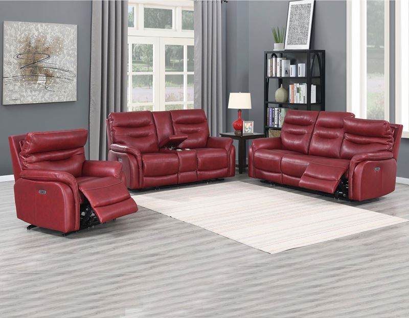 Fortuna Power Reclining Leather Sofa Set in Wine