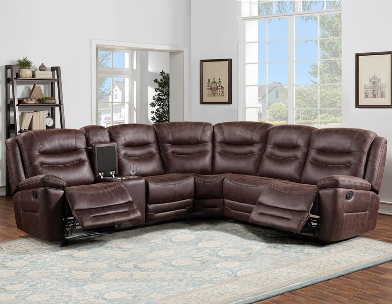 Stetson 6-Piece Reclining Sectional in Bomber Jacket