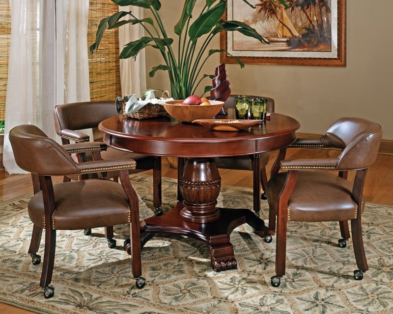 Tournament Poker Game Table with Brown Caster Chairs