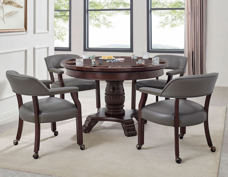 Tournament Poker Game Table with Grey Caster Chairs