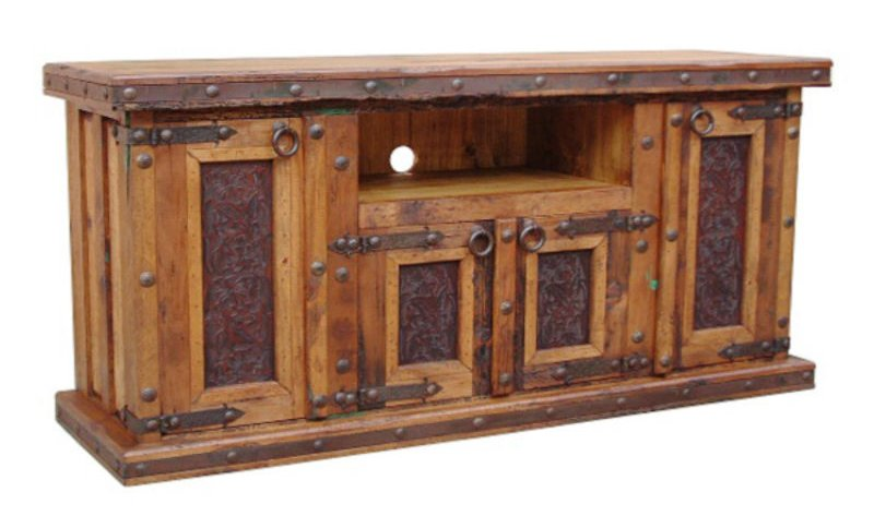 Rustic TV Stand with Tooled Leather