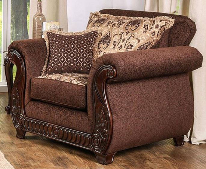 Tabitha Formal Living Room Set in Brown