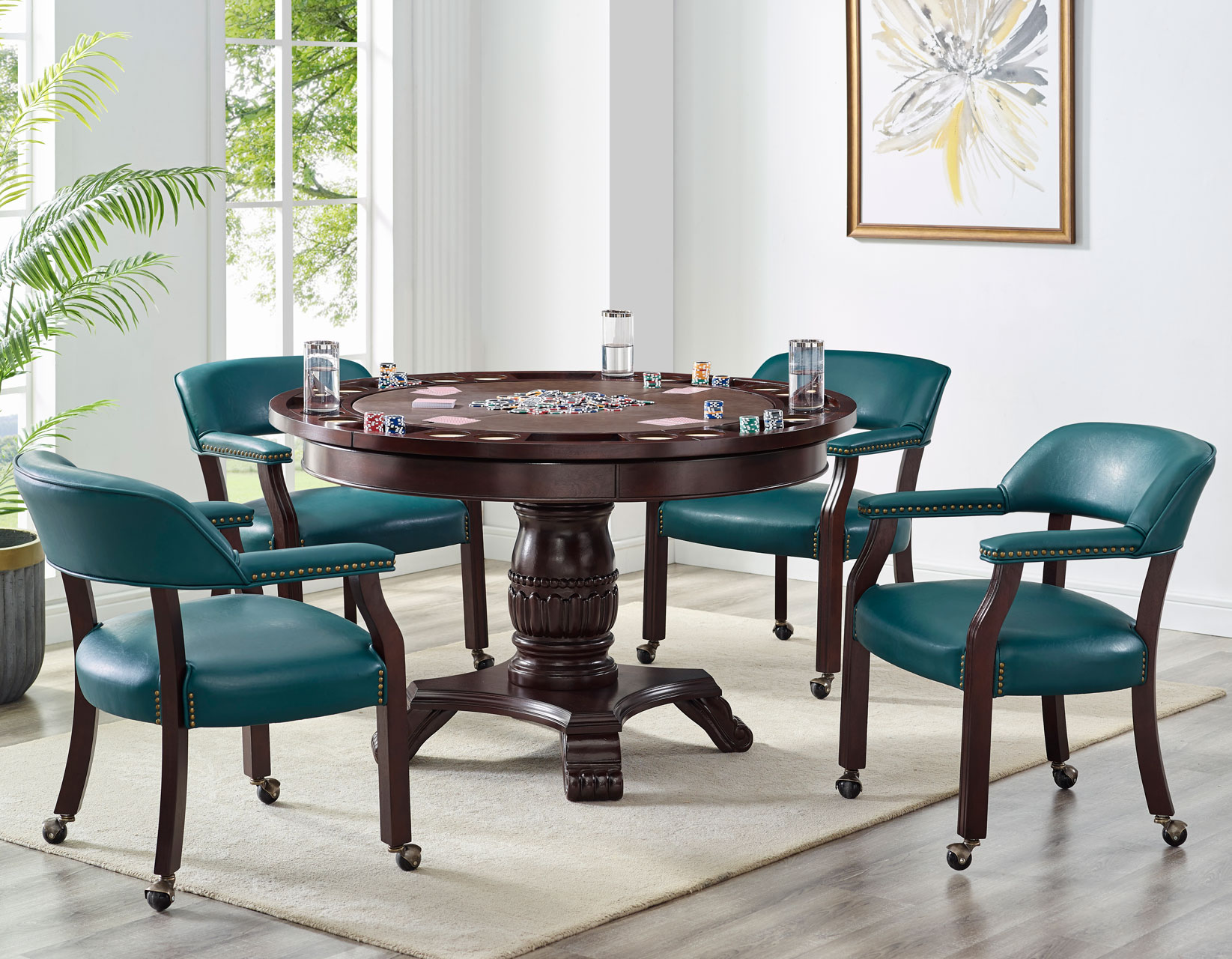 Tournament Poker Game Table with Teal Caster Chairs
