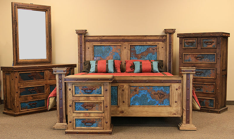 Turquoise Copper Panel Rustic Bedroom Set