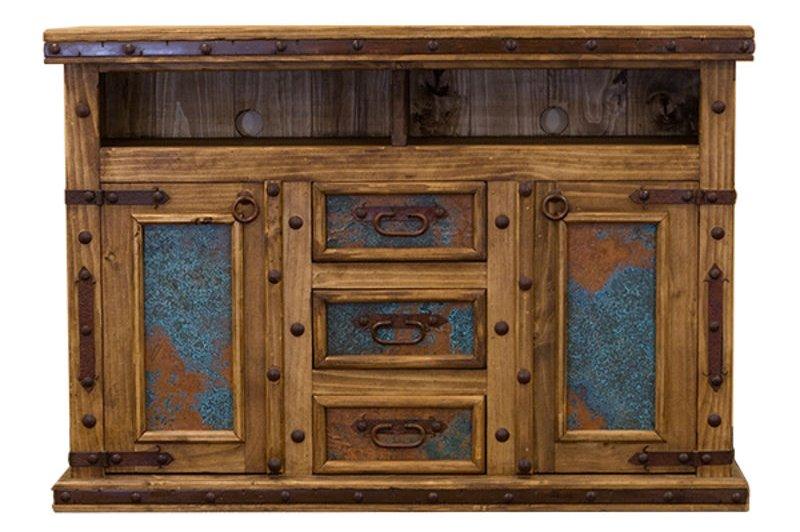 Dallas Designer Furniture   Turquoise Copper Panel Rustic Bedroom Set