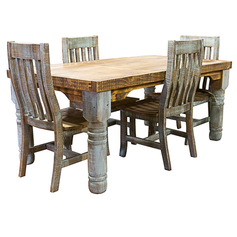Rustic Dining Room Table Set: Turquoise Washed Rustic Dining