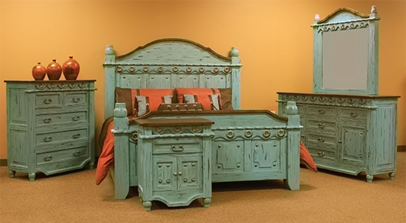 Turquoise Grande Rustic Bedroom Set