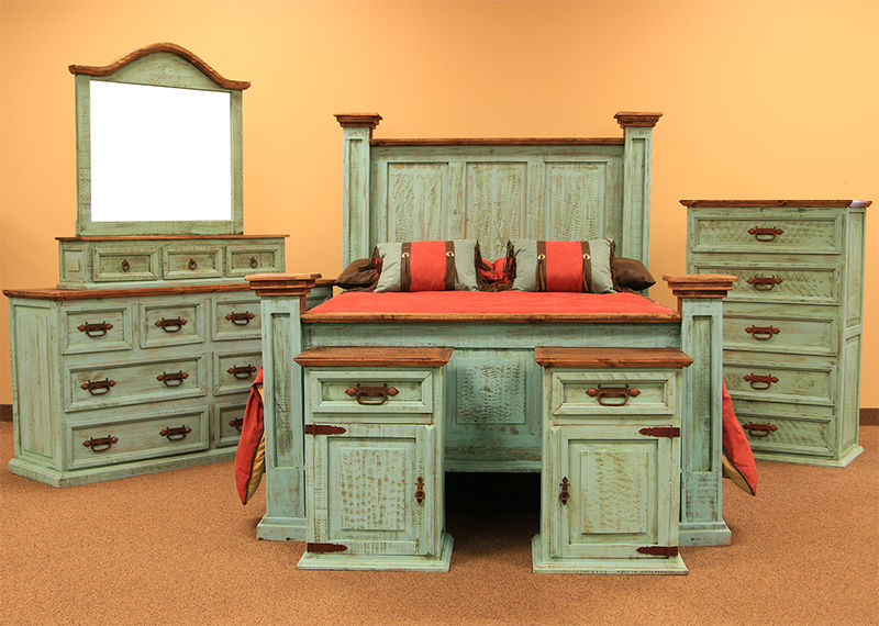 Turquoise Washed Rustic Bedroom Set