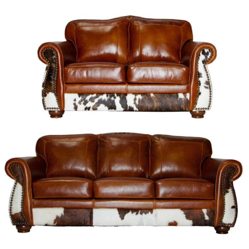 United Leather | LK3 Rustic Leather and Cowhide Sofa Set | Dallas Designer  Furniture
