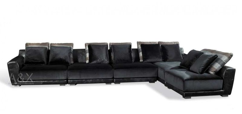 A&X Valentino Black Crocodile Leather and Fabric Sectional