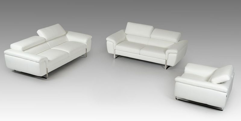 David Ferarri Highline Italian Modern White Leather Sofa Set