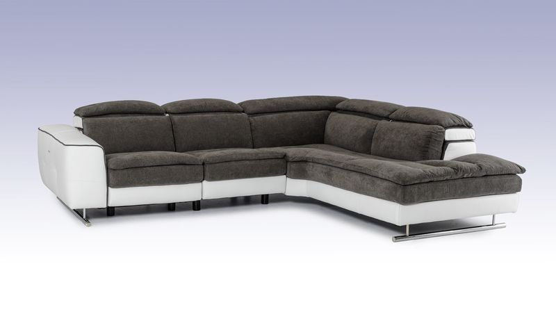 David Ferarri Starlight Italian Grey & White Sectional