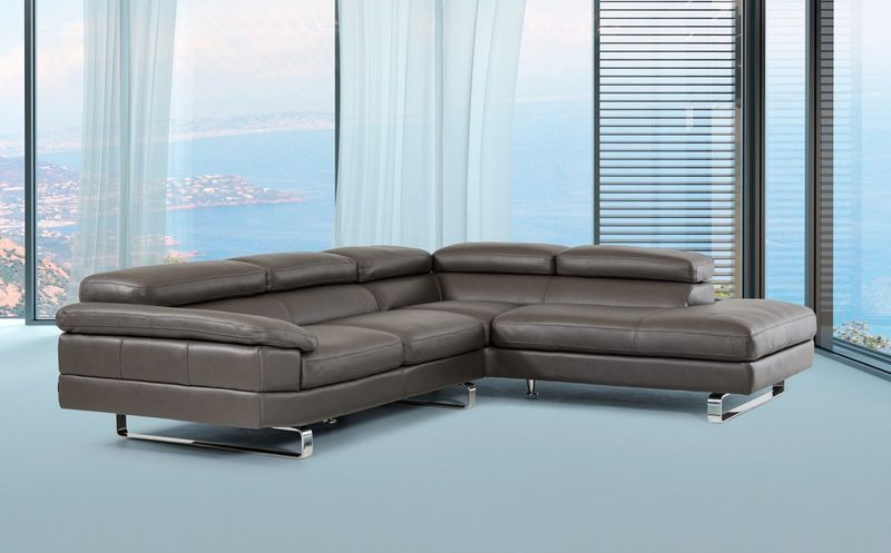 David Ferarri Violetta Modern Grey Italian Leather Sectional