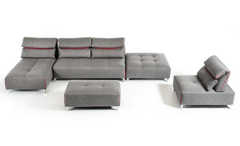 David Ferarri Zip Modern Grey Sectional