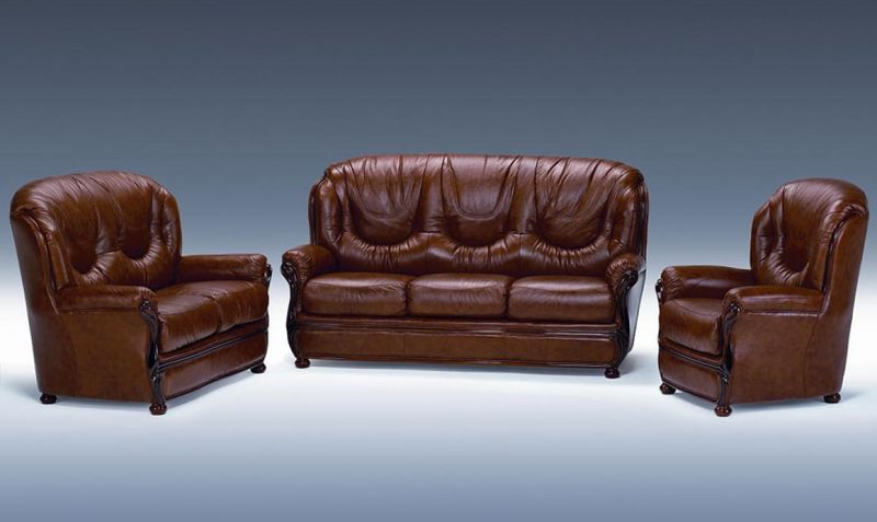 Dima Dallas Classic Brown Italian Leather Sofa Set