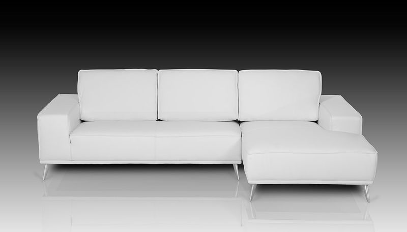 Dima Elite Modern White Italian Leather Sectional