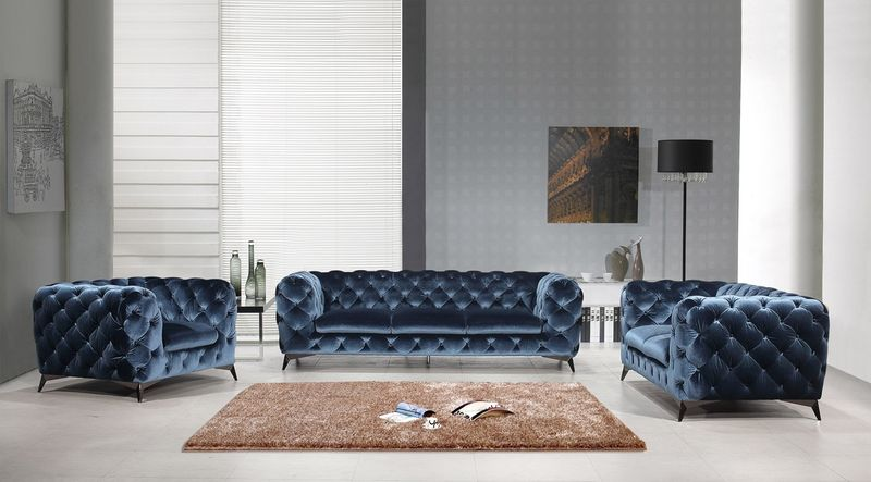 Divani Casa Modern Blue Fabric Sofa Set