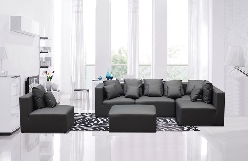 Dallas Designer Furniture | Divani Casa Modern Grey Modular Sofa Set