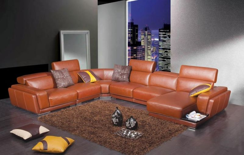 Divani Casa Modern Orange Leather Sectional