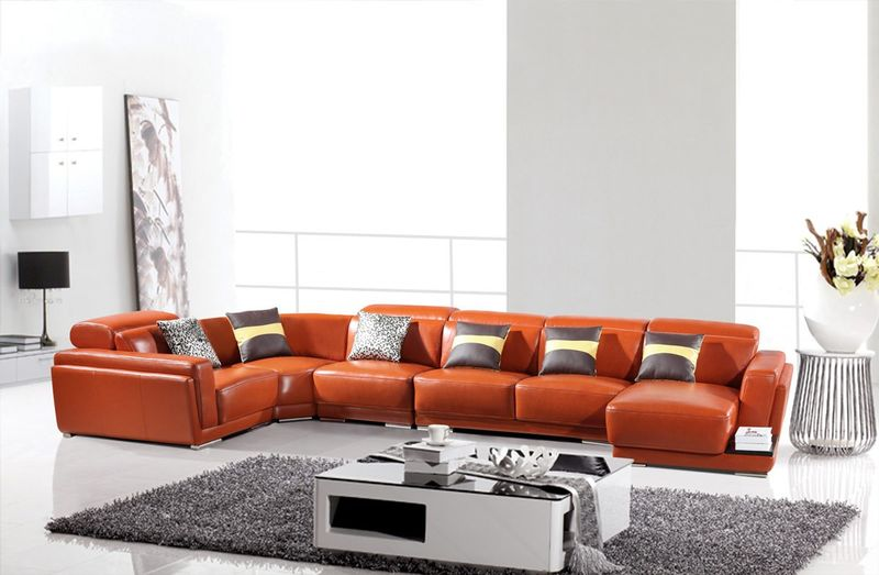 Divani Casa Modern Orange Leather Sectional