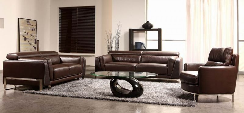 Divani Casa Modern Leather Sofa Set with Faux Croc Accents