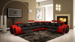 Divani Casa Modern Black and Red Sectional