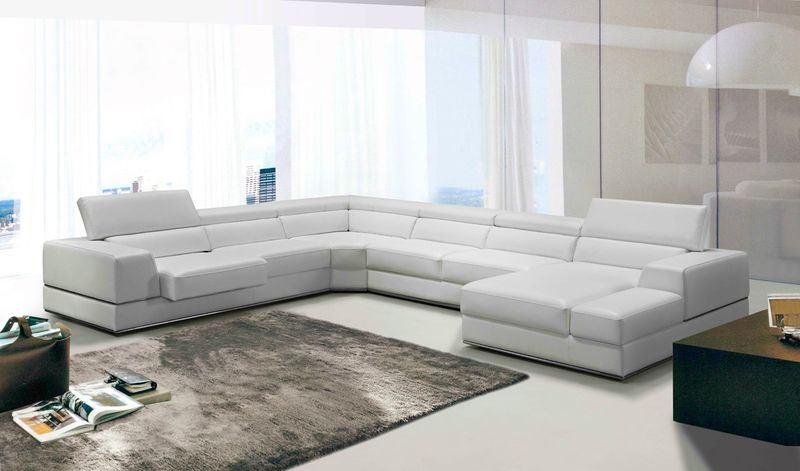 Divani Casa Modern White Italian Leather Sectional