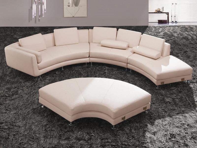 Divani Casa Contemporary Cream Leather Sectional with Ottoman
