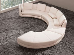Divani Casa Contemporary Cream Leather Sectional with Ottoman