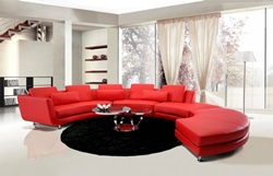 Divani Casa Contemporary Red Leather Sectional with Ottoman