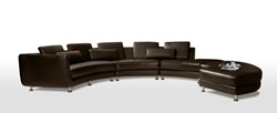 Divani Casa Contemporary Espresso Leather Sectional with Ottoman