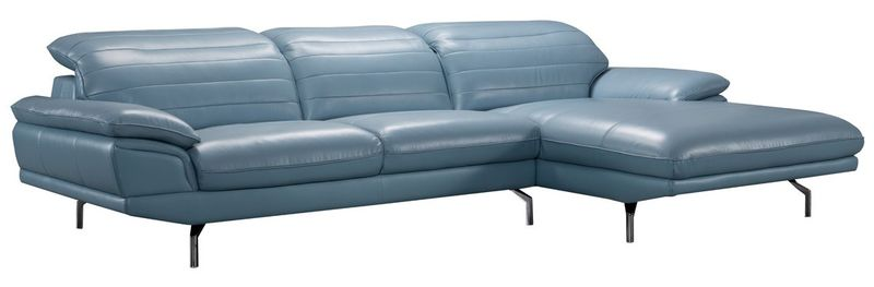 Divani Casa Arcola Modern Blue Leather Sectional Sofa