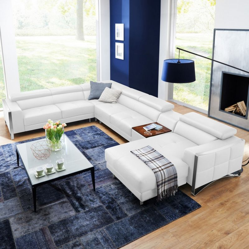 Divani Casa Arles Modern White Leather Sectional